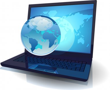 Laptop with Globe and map of the World