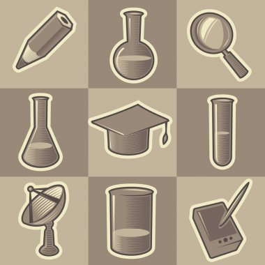 Monochrome science icons