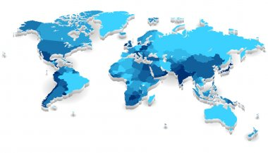 World map with countries in cool colors. Vector illustration. stock vector