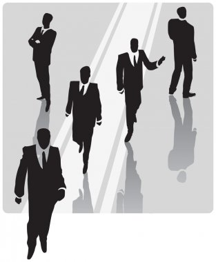 Businessman with security team