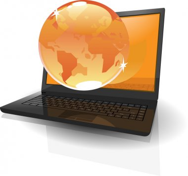 Realistic laptop and orange globe