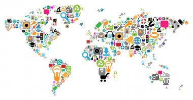 World map made of internet and computer icons. Vector illustration concept. stock vector