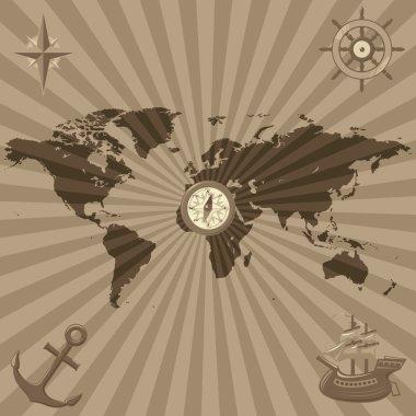 World map with nautical symbols