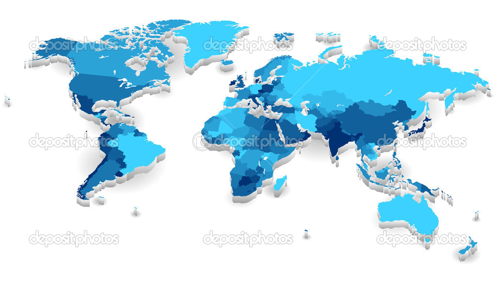 Extruded World map with countries