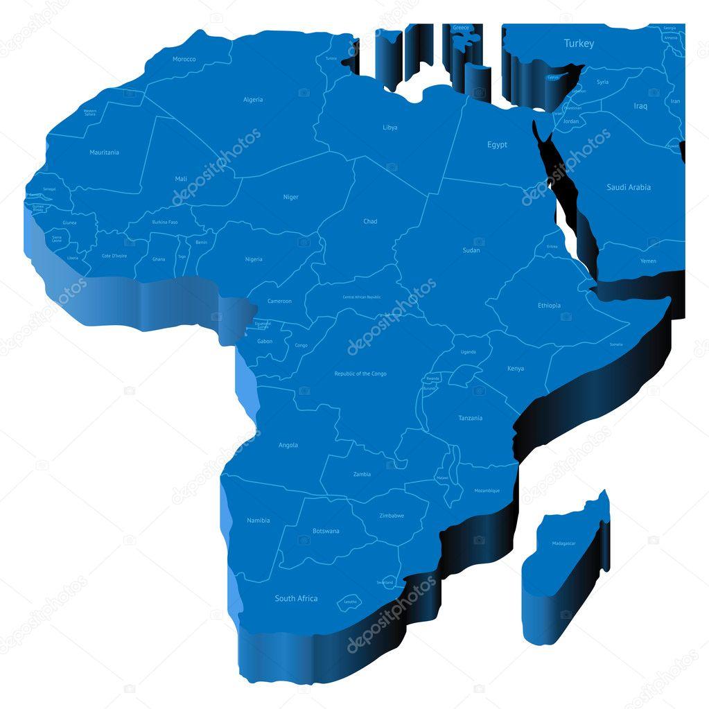 D Map Of Africa Stock Vector Ildogesto - Map of egypt 3d