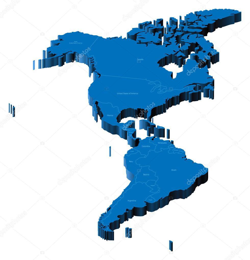 Map Of America 3d Vector.3d Map Of Americas Stock Vector C Ildogesto 2786500