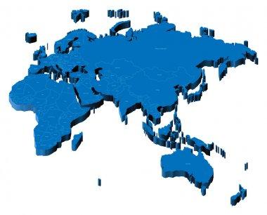 3d map of Eurasia, Africa and Australia