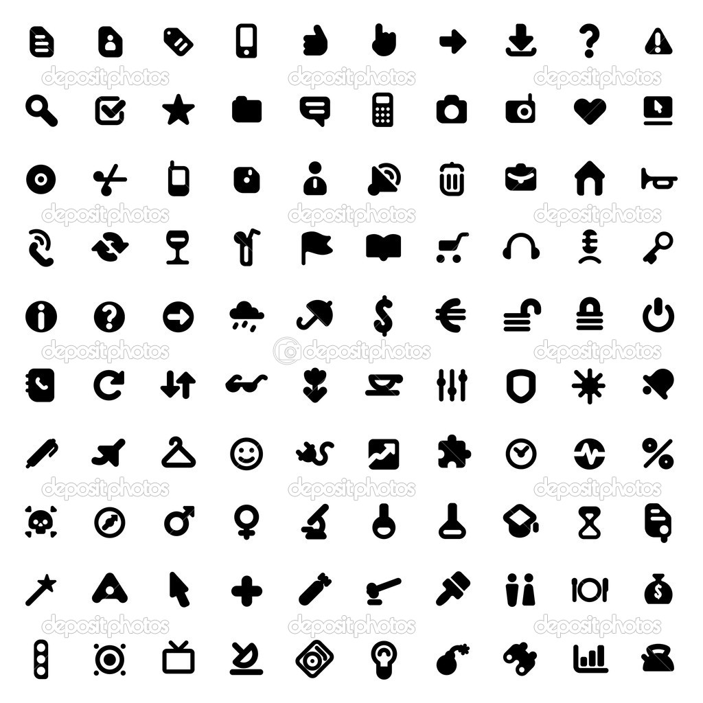Set of one hundred icons for website interface, business designs, finance, security and leisure. Vector illustration. stock vector