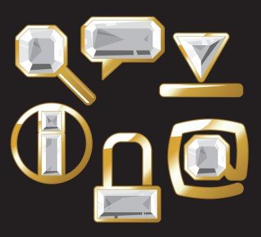Gem icons with diamond