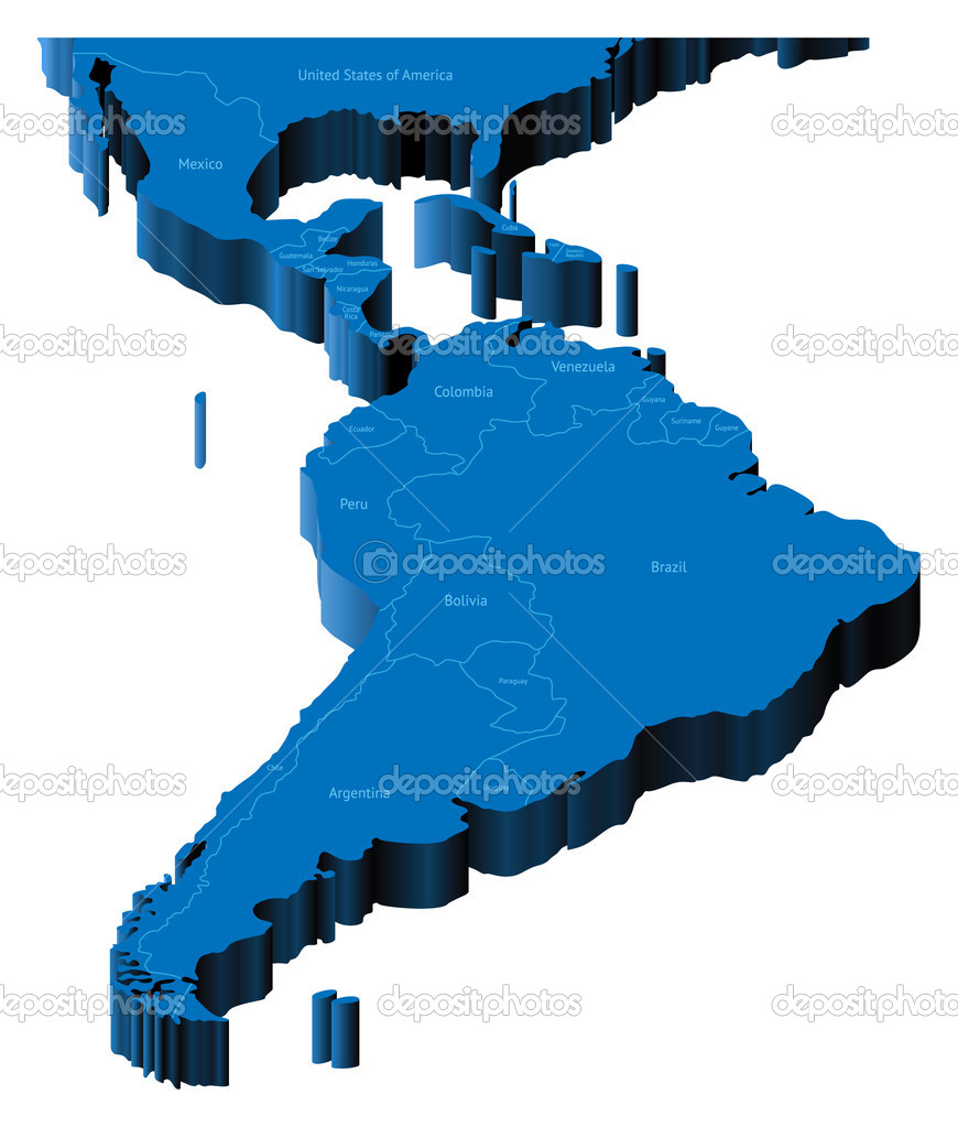 3d Map Of Latin America Stock Vector C Ildogesto 3050815