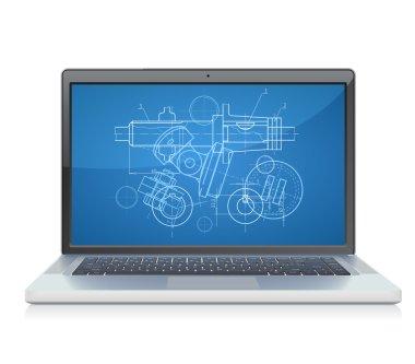 Laptop with blueprint