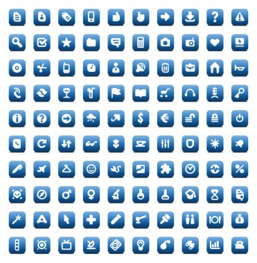 Set of 100 icons for web and interface