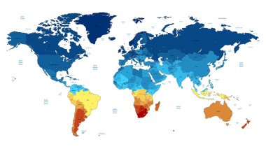 Blue and yellow detailed World map