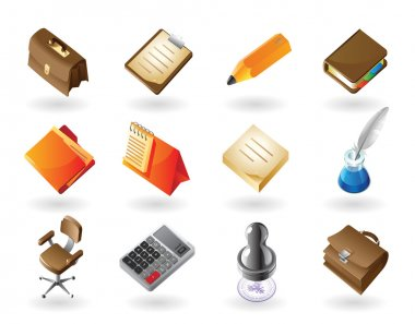 Isometric-style icons for office