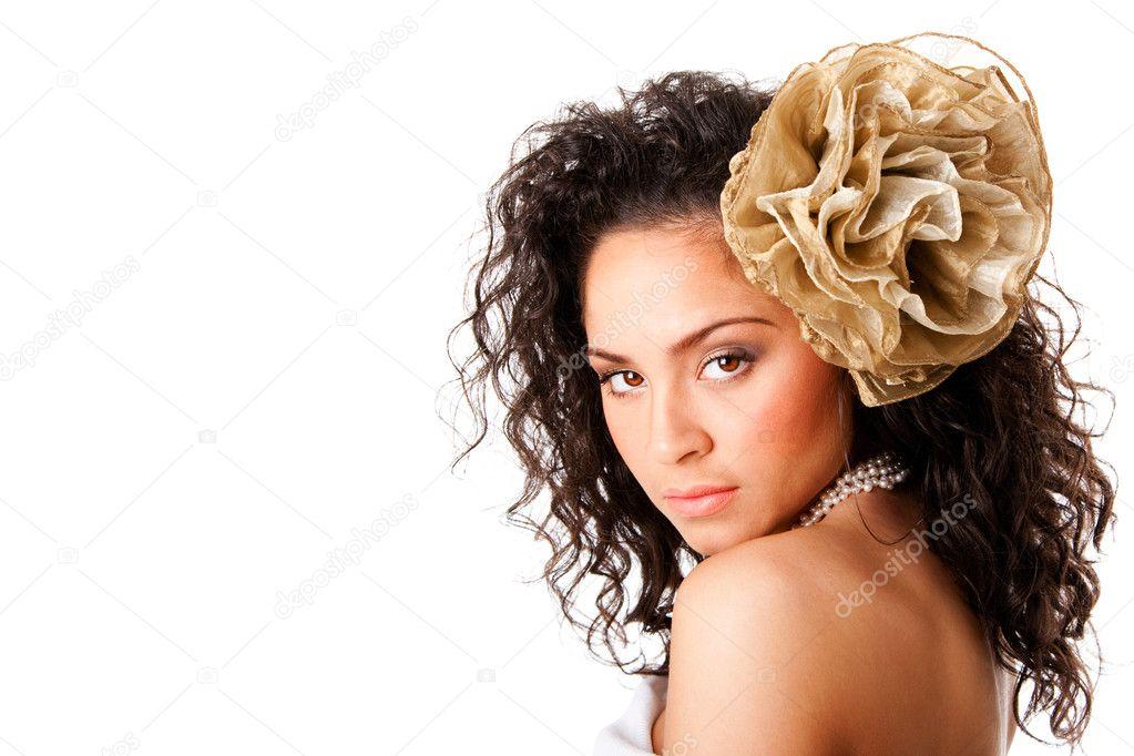 faccia bella pelle chiara con fiore — Foto Stock © phakimata  3007620 c13fb93c23a
