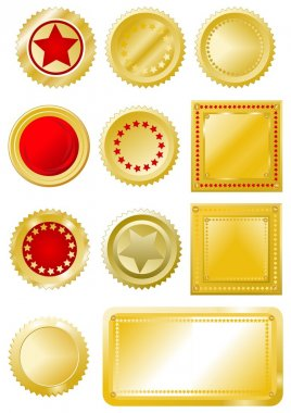 Golden red seals and labels