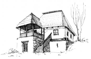 Old rural house sketch