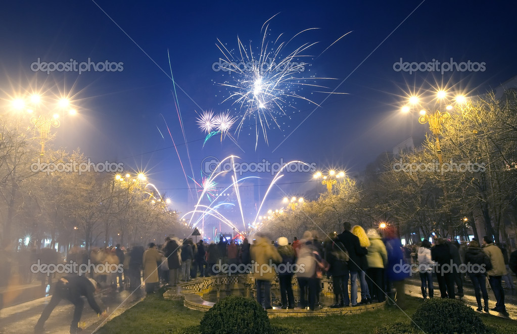 New Years Eve Fireworks Bucharest Romania