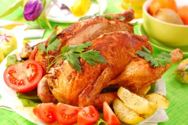 Roasted chicken stuffed with liver