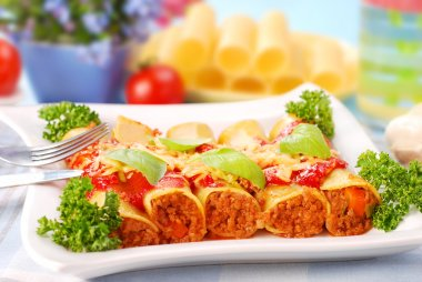 Cannelloni stuffed with minced meat