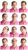 Fotografie Adult man face expressions composite isolated on white background