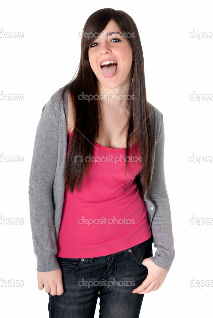 Young female razz sticking out tongue cheerful isolated on white