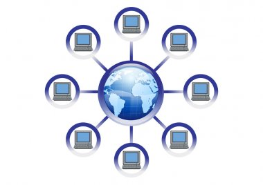 Global Online Computer Network Illustration in Vector