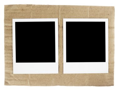 Polaroid film blanks on the cardboard background background stock vector