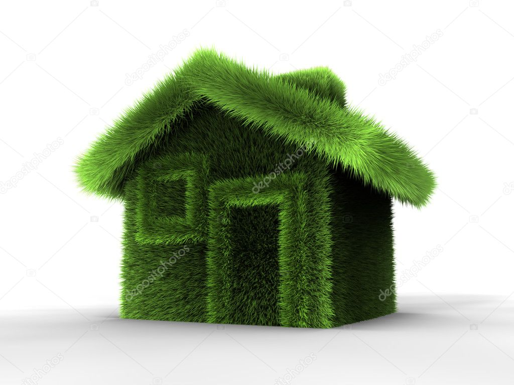 House made of grass, 3d render abstract illustration