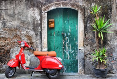 Photo of red scooter near green door and palm stock vector