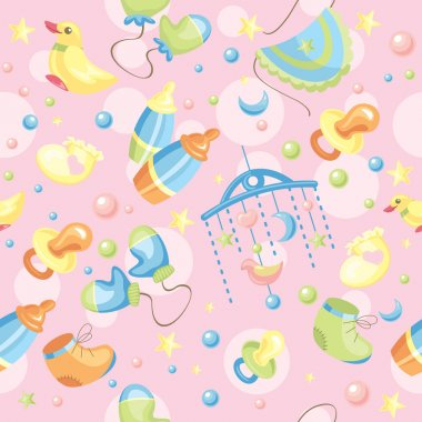 Seamless cute baby background