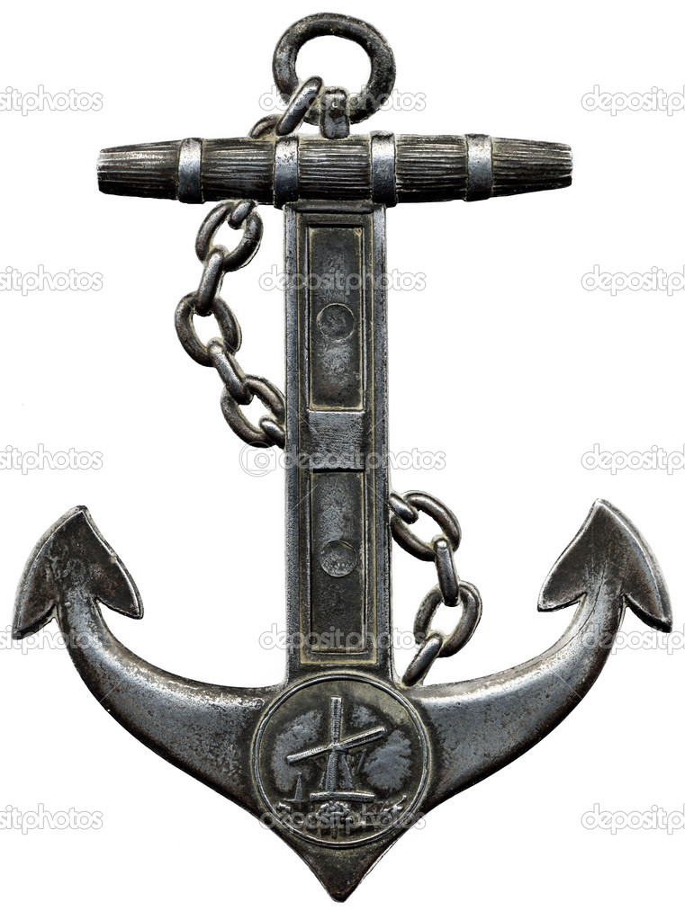 Metal anchor isolated against a white ba
