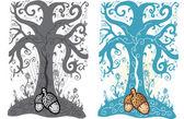 žalud a strom života tattoo styl vect