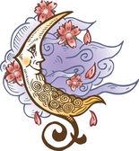 Cresent měsíc proti měkké mraky tetování