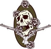 růže zbraně a pistole tetování stylu illu