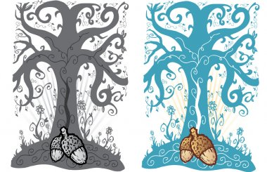 Acorn and tree of life tattoo style vect