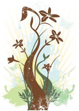 Spring floral grunge vector illustration