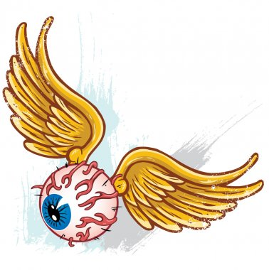 Hand drawn punk style flying eyeball with wings vector illustration all parts are seperate and fully editable stock vector
