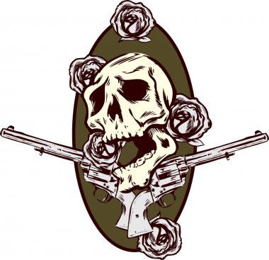 Guns roses and pistols tattoo style illu