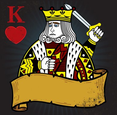King of Hearts with banner tattoo style
