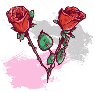 Beautiful Valentines Day Roses Vector Il
