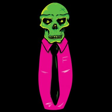 Skull wearing a suit and tie vector illu