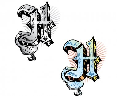 Tattoo style letter H with relevant symb