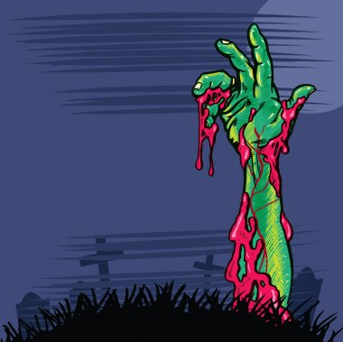 Zombie hand coming out the ground illust