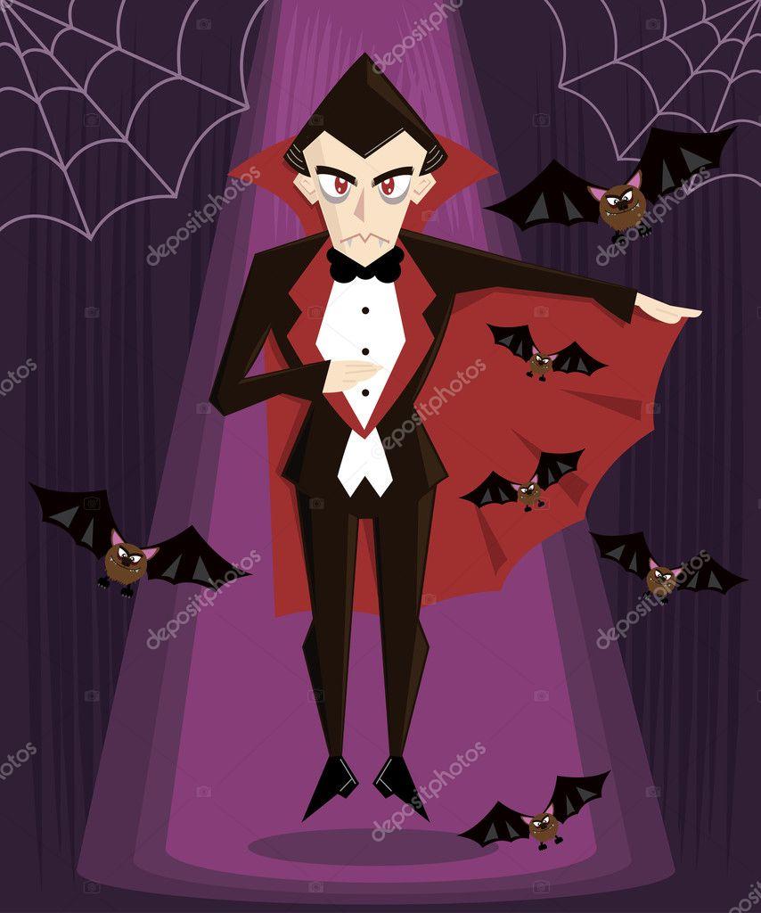 Dracula halloween character vector illus — Stock Vector