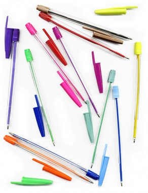 Colourful pens on a white background Back to school concept stock vector