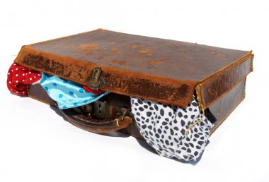 Battered old brown leather suitcase