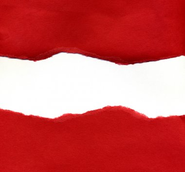 Red Torn Paper Revealing a White Backgro