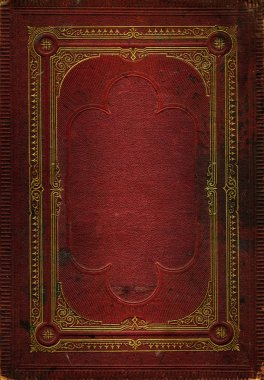 Old red leather texture with gold decora