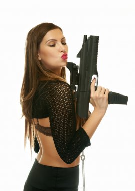 The girl with an automatic pistol